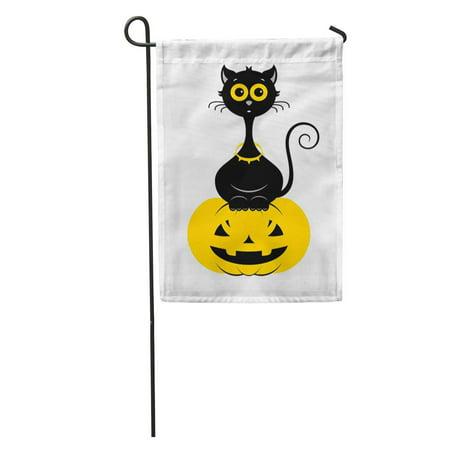 LADDKE Halloween Cat in Modern Line Black Cartoon The Pumpkin Garden Flag Decorative Flag House Banner 12x18 inch](Cartoon Halloween Black Cats)
