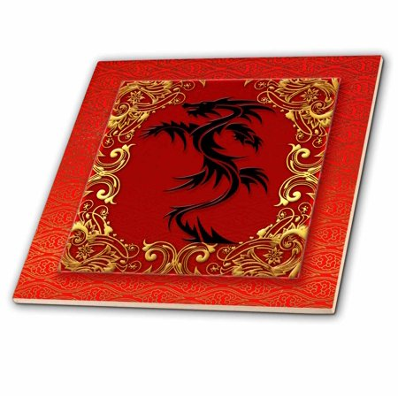 3dRose Chinese Zodiac Year of the Dragon Chinese New Year Red, Gold and  Black - Ceramic Tile, 6-inch