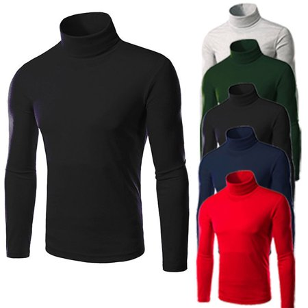Mens Thermal High Collar Turtleneck Long Sleeve Pullover Sweater Shirt