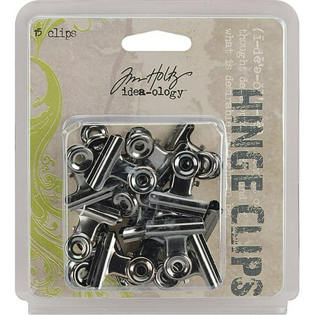 Tim Holtz idea ology 1 inch Hinge Clips with Antique Nickel Finish 15 pack