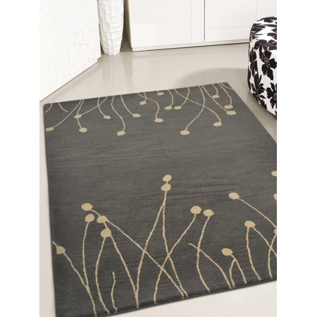 Rugsotic Carpets Hand Tufted Wool 8'x10' Area Rug Floral Gray White K00509 Hand Tufted Carpets