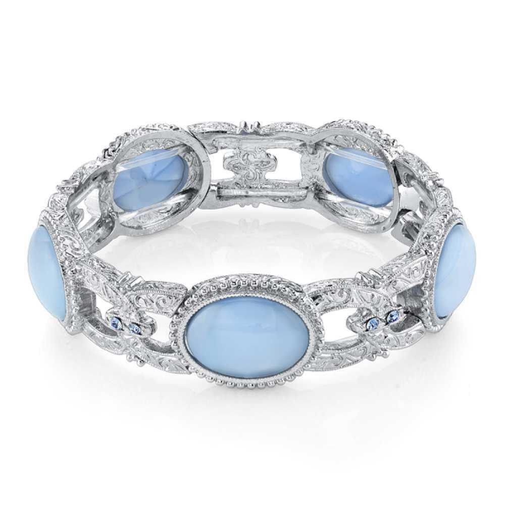 1928 Jewelry Womens Glass Silver-Toned Light Blue MoonStone Stretch Bracelet NEW