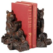 Bookends Bookend MOUNTAIN Rustic Whimsical Reading Bear Resin New Hand-Ca OK-945