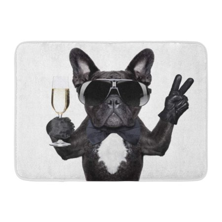 KDAGR Birthday French Bulldog Champagne Glass and Victory Peace Fingers Happy Funny Doormat Floor Rug Bath Mat 23.6x15.7 - Fluted Glass Door