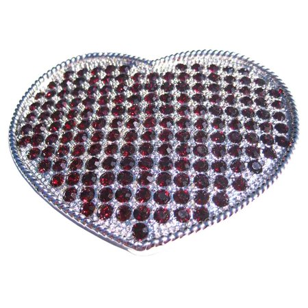 - Deep Red Rhinestone Covered Heart Shaped Belt Buckle