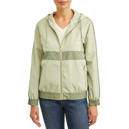 Women's Windbreaker Jacket with Gold Zipper Detail ()