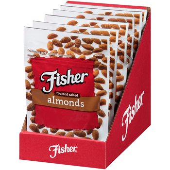 6-Pack Fisher Snack Roasted Salted Almonds, 4.5 oz