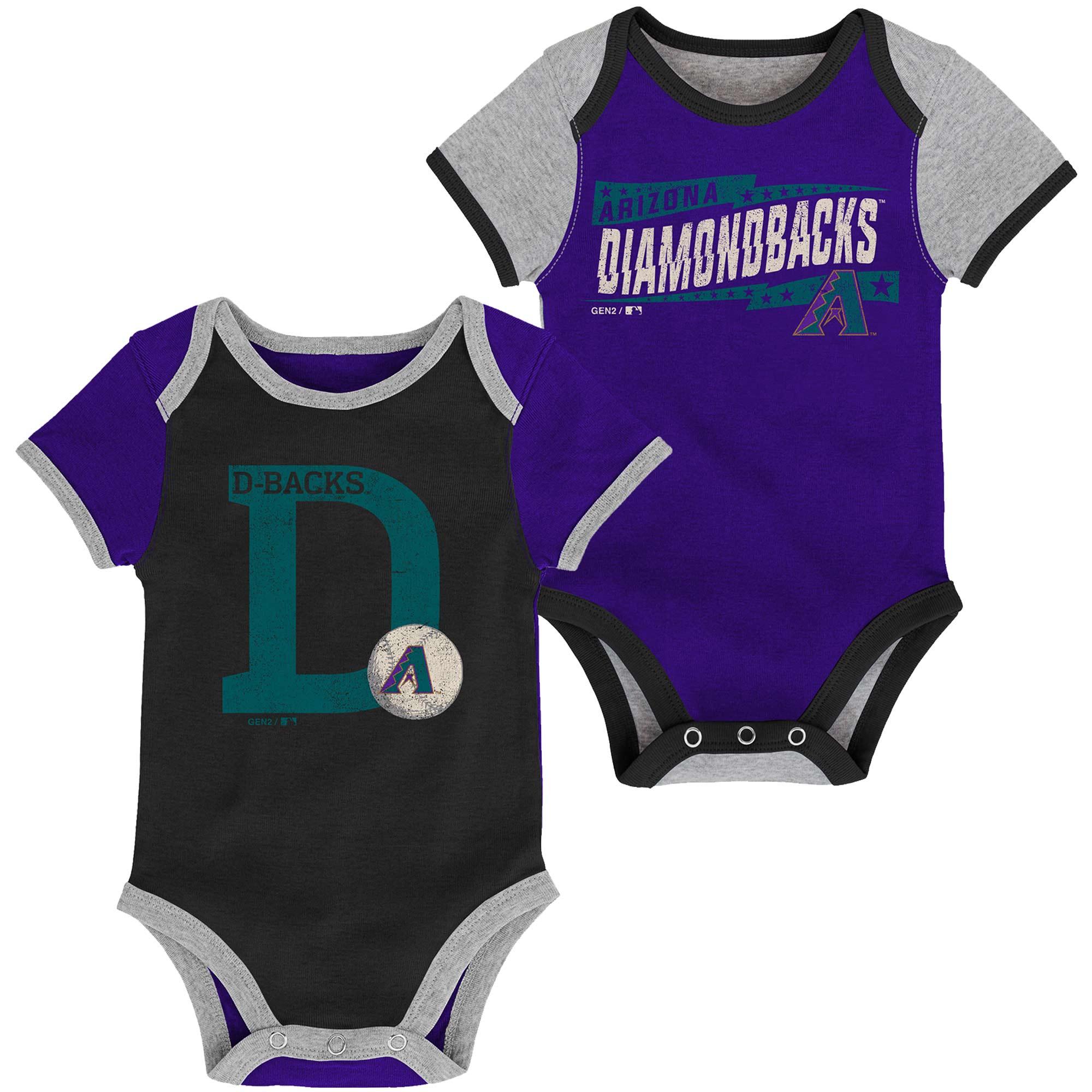 Arizona Diamondbacks Newborn Baseball Star Two-Pack Bodysuit Set - Black/Purple