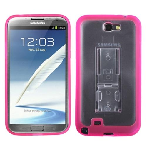 Insten Transparent Clear/Solid Hot Pink (With Stand) Gummy Cover Case for SAMSUNG: Galaxy Note II (T889/I605/N7100)