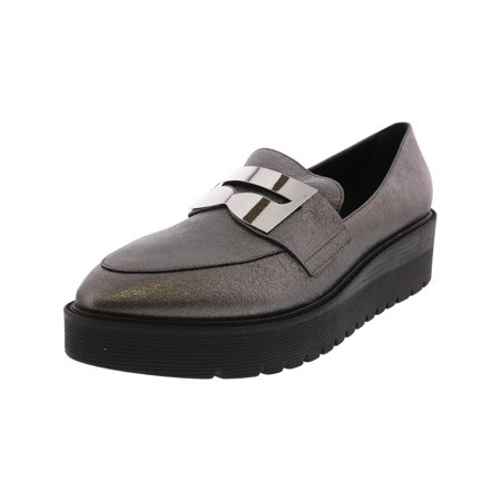 Pewter Kid Leather (Lust For Life Women's Tilt Leather Pewter Ankle-High Loafer - 10M)