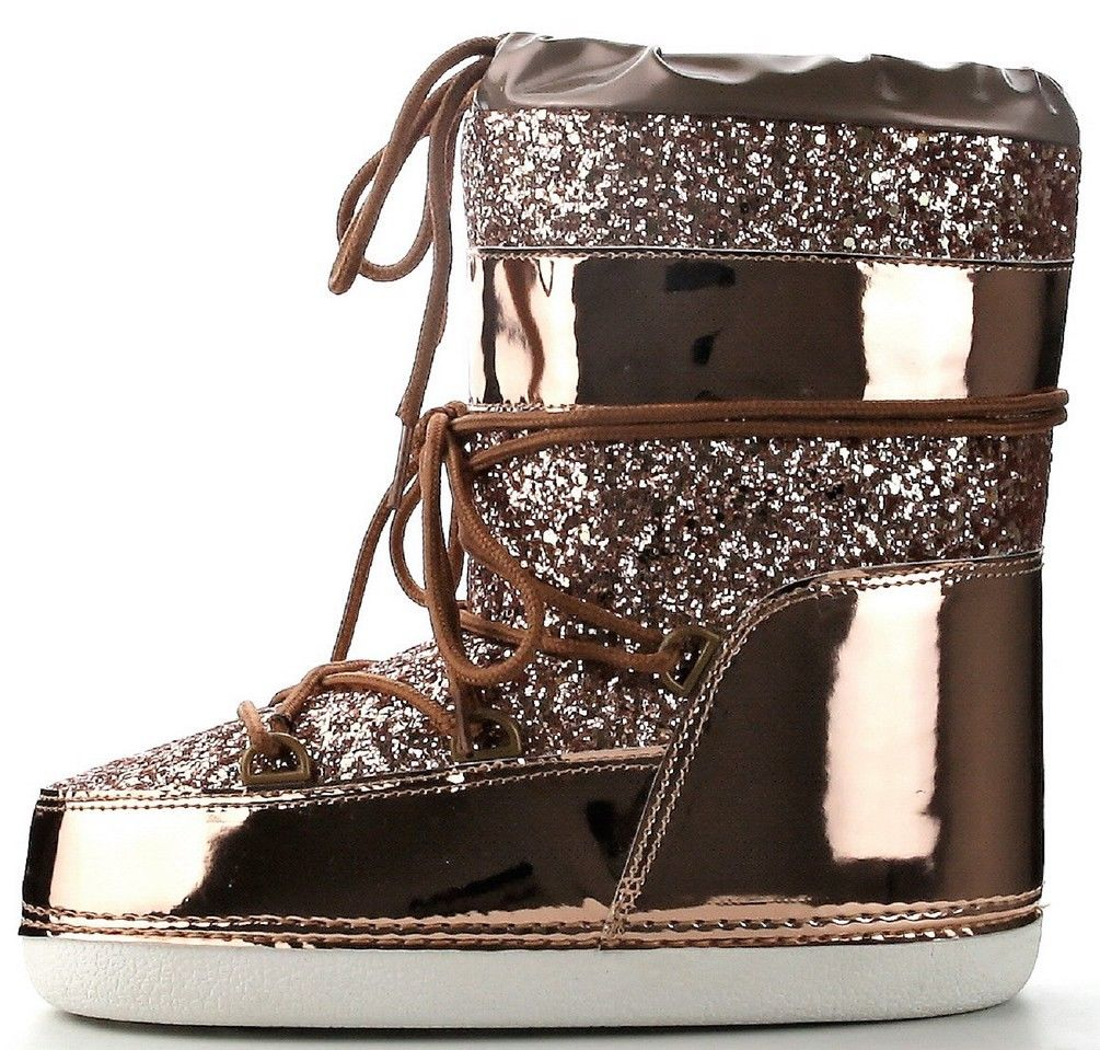 64648393bd80 Cape Robbin - MB-11 Women Ankle High Ski Snow Winter Lace Up Glitter Moon  Boots Rose Gold - Walmart.com
