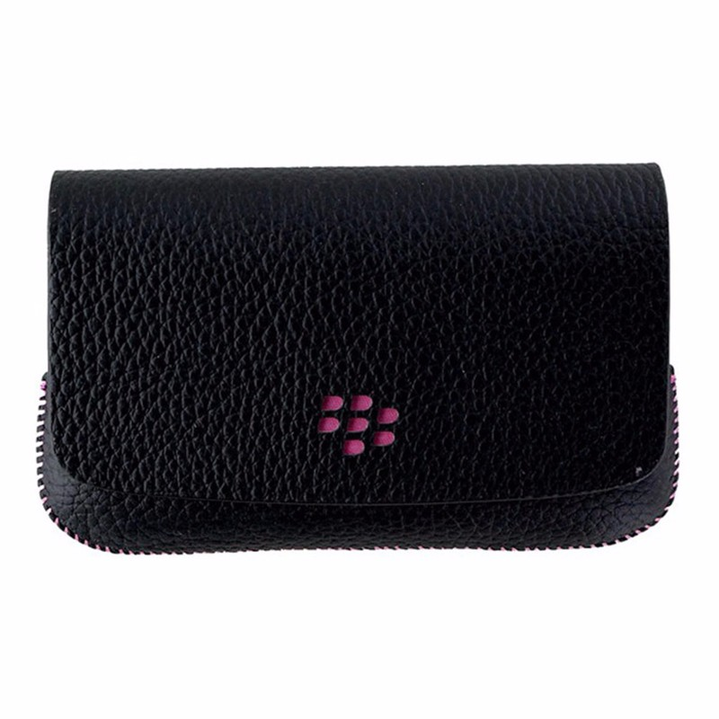 BlackBerry Leather Folio Pouch for BlackBerry 9800 Series - Black / Pink