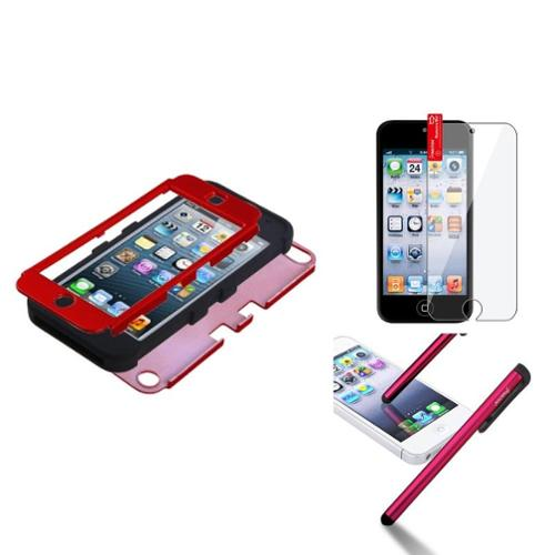 Insten Titanium Red/Black TUFF Hybrid Phone Hard Case For iPod Touch 6th 6G 6 5th 5G 5 Shield Pen