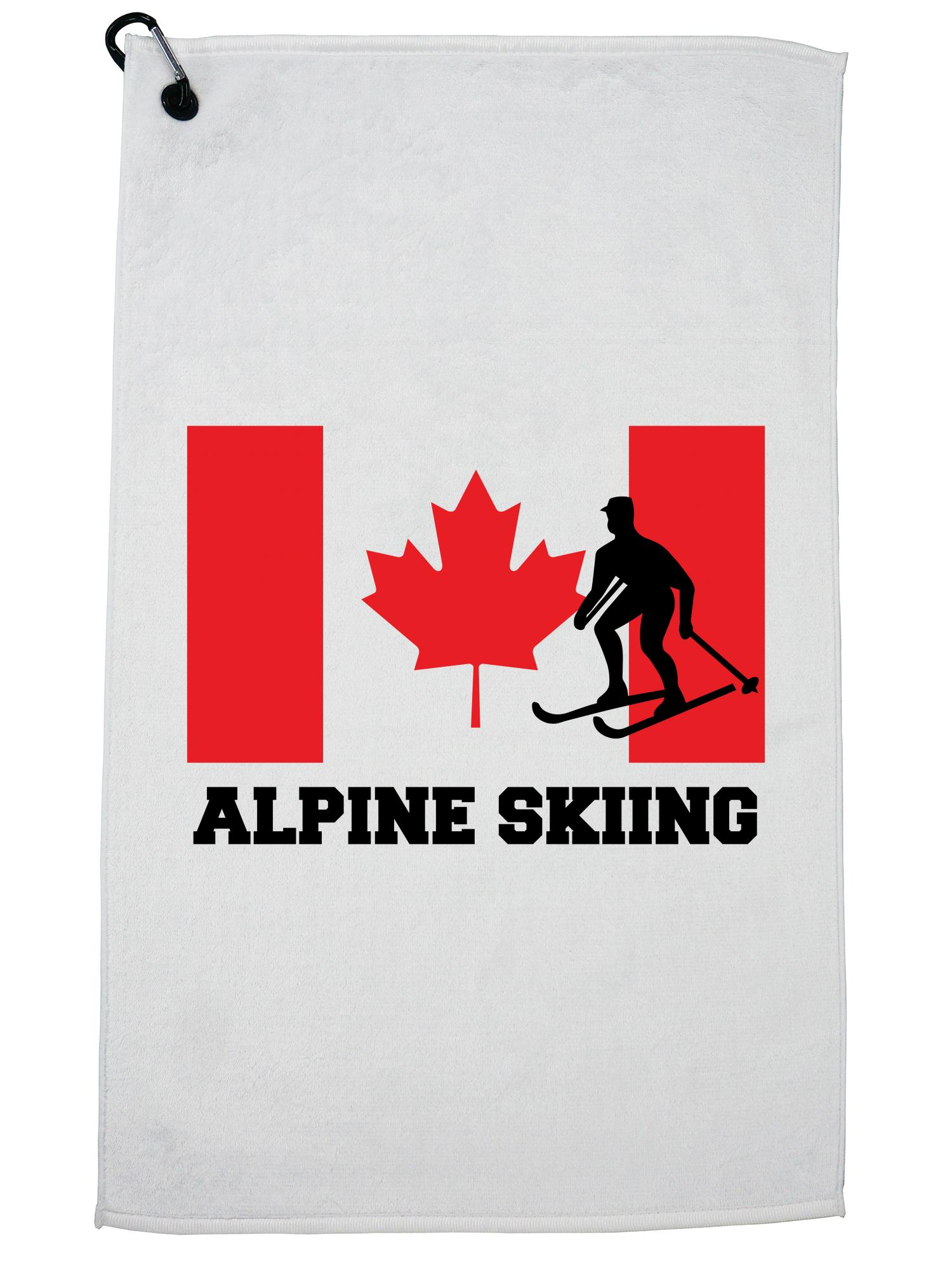 Canada Olympic Alpine Skiing Flag Silhouette Golf Towel with Carabiner Clip by Hollywood Thread