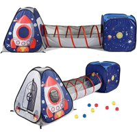UTEX 3pc Space Astronaut Kids Play Tent, Pop Up Play Tents with Tunnels for Kids, Boys, Girls, Babies and Toddlers, Indoor/Outdoor Playhouse Stem Inspired Design W/Solar System & Planet