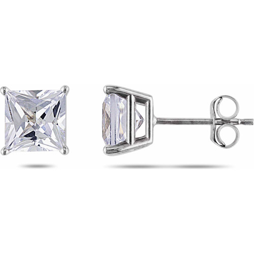 Miabella 2 Carat T.G.W. Princess-Cut Created White Sapphire 10kt White Gold Solitaire Earrings