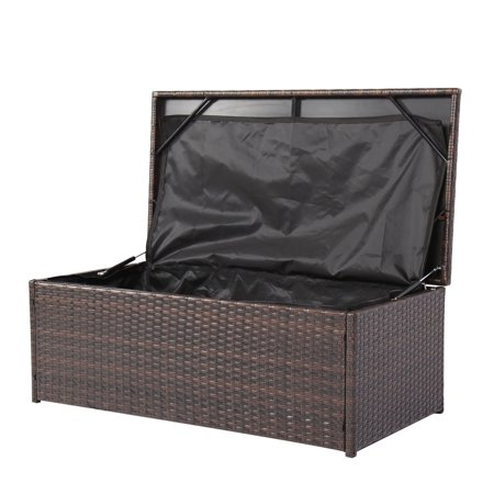 Miraculous Kinbor Outdoor Patio Wicker Rattan Storage Bench Walmart Com Pabps2019 Chair Design Images Pabps2019Com