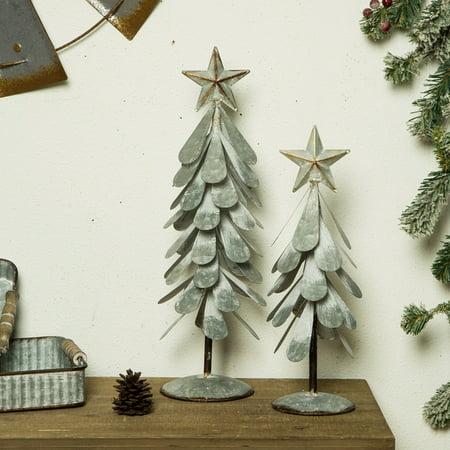 Glitzhome Galvanized Metal Christmas Table Tree Decor, set of 2 ()
