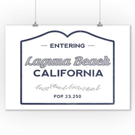 Laguna Beach, California - Now Entering (Blue) - Lantern Press Artwork (9x12 Art Print, Wall Decor Travel (Cast Of Laguna Beach Then And Now)