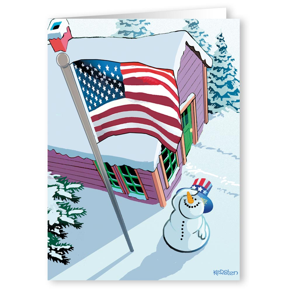 """Patriotic """"Uncle Sam"""" Snowman Saluting the Flag - Holiday Christmas Card - 18 Cards and 19 Envelopes"""