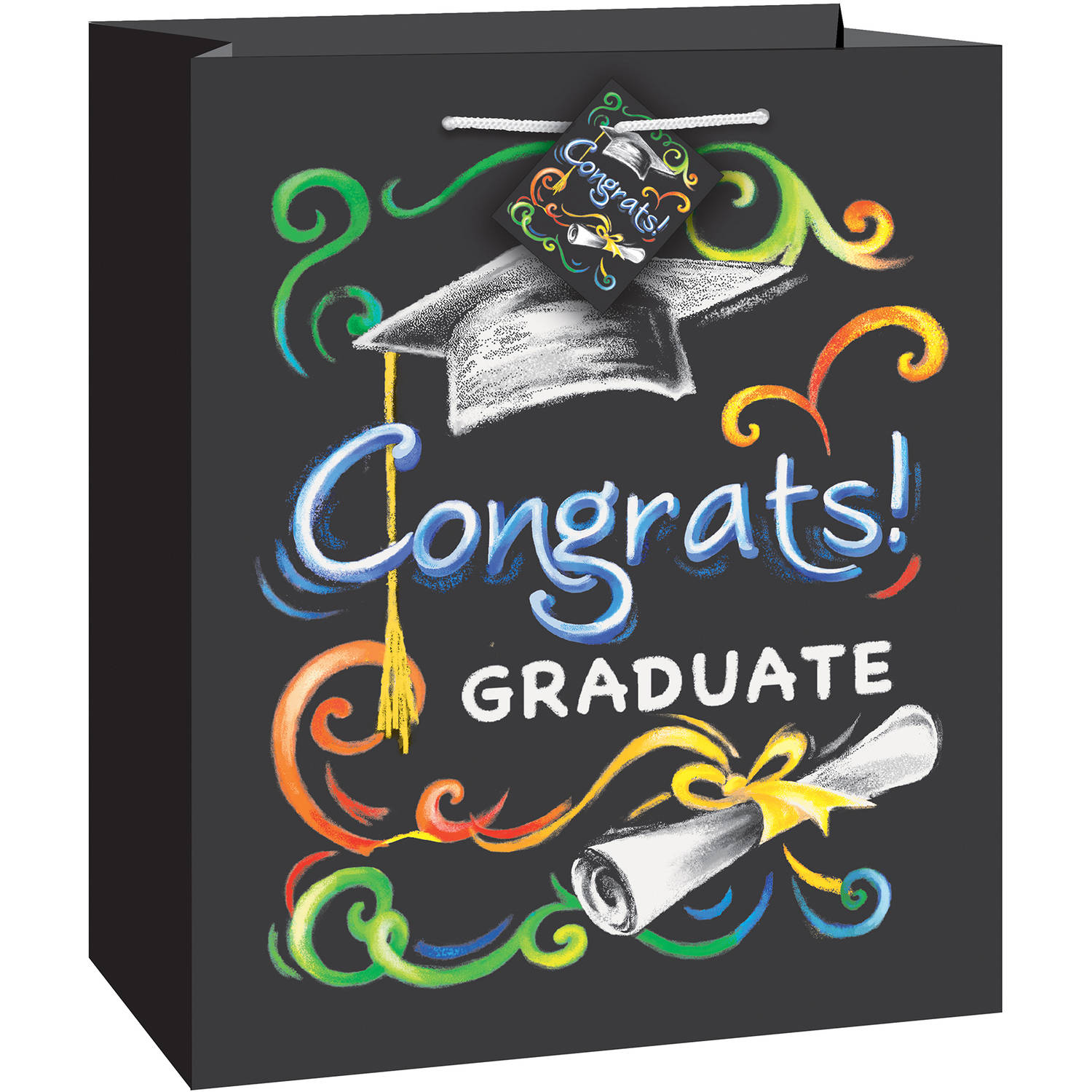 Chalkboard Graduation Gift Bag, 9 x 7 in, 1ct