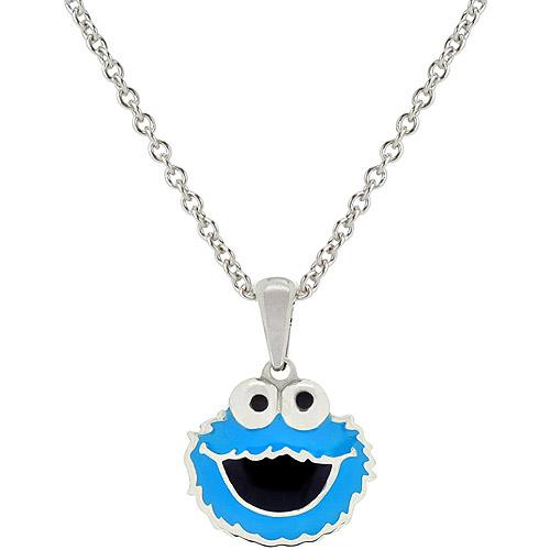 "Sesame Street Stainless Steel Enamel Cookie Monster Pendant, 18"""