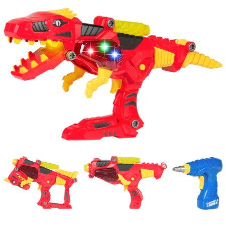 Best Choice Products 17 Pc Take-A-Part Kids Toy Dinosaur Blaster Gun Set W/ Drill, Lights, And Sounds - Kids Toy Guns