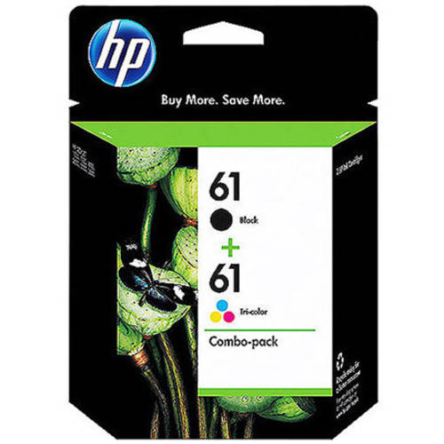 HP 61 Black/Tri-color Original Ink Cartridges, 2 pack (CR259FN)