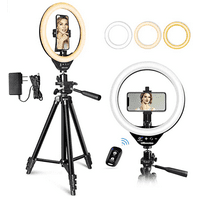 "UBeesize 10"" LED Ring Light with Stand and Phone Holder, Selfie Halo Light for Photography/Makeup/Vlogging/Live Streaming, Compatible with Phones and Cameras (2020 Version)"