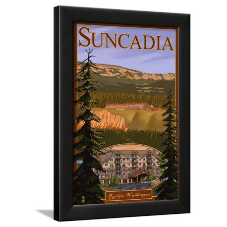 Roslyn, Washington, Suncadia Resort Scene Framed Print Wall Art By Lantern Press 845 Roslyn 3 Light