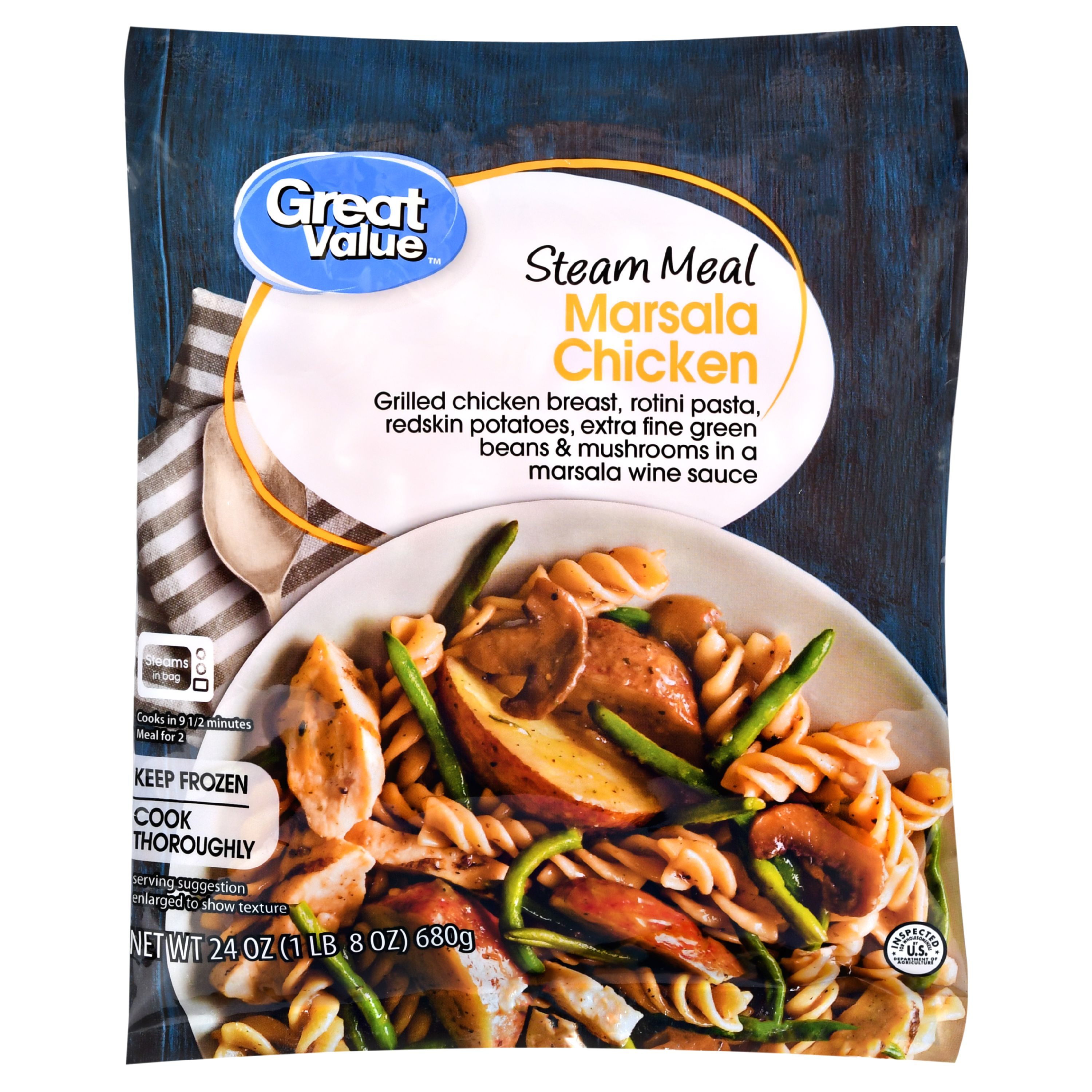 Great Value Frozen Steam Meal, Marsala Chicken, 24 oz