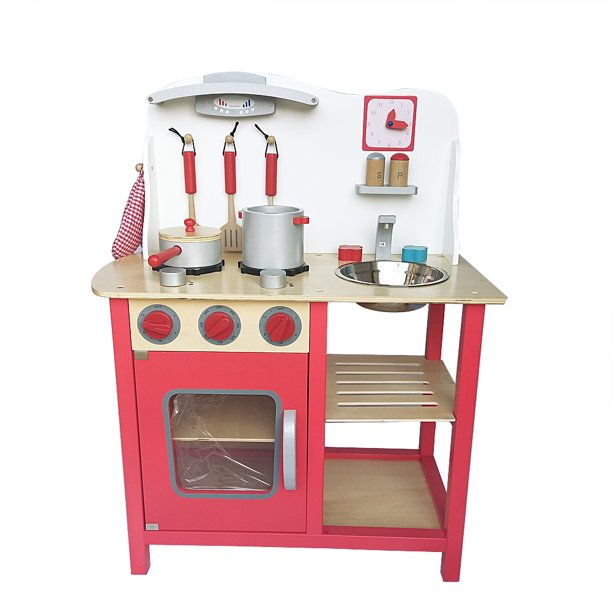 Romacci Wood Kitchen Toy Kids Cooking Pretend Play Set With Kitchenware And Clock Red Walmart Com Walmart Com