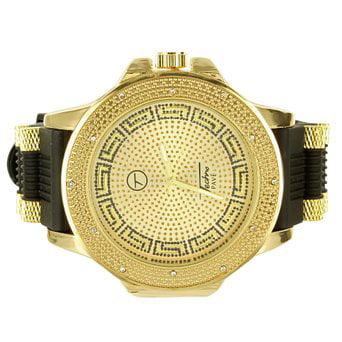 Yellow Techno Pave New Rubber Strap Custom Dial Mens Genuine Diamond Watch