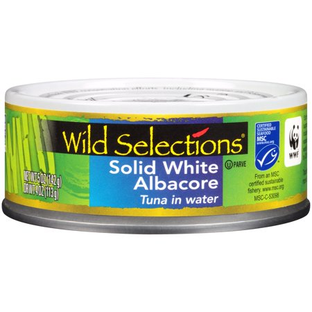 (2 Pack) Wild Selections Solid White Albacore Tuna in Water, Canned Tuna Fish, High Protein Food, 5oz