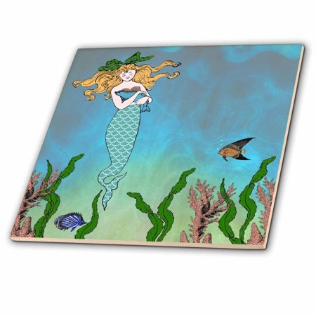 3dRose Cute pretty mermaid hugging baby seal - underwater mythical vintage art at sea - ocean marine theme - Ceramic Tile, (Under The Sea Art Projects For Toddlers)