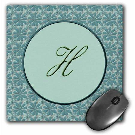 3dRose Elegant letter H in a round frame surrounded by a floral pattern all in teal green monotones, Mouse Pad, 8 by 8 inches](Halloween Stores In Green Bay)