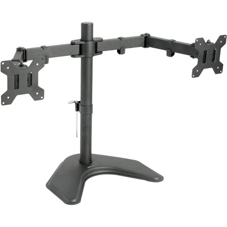 VIVO Dual Monitor Free Standing Desk Mount Stand Heavy Duty Fully Adjustable fits two Screens up to 27
