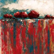 Abstract Drip Texture Tree Horizon Line Landscape Painting Red & Blue Canvas Art by Pied Piper Creative