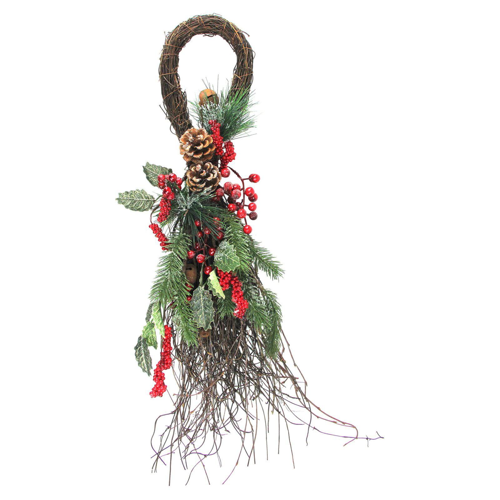 Northlight 24 in. Evergreen Sprigs Christmas Teardrop Swag