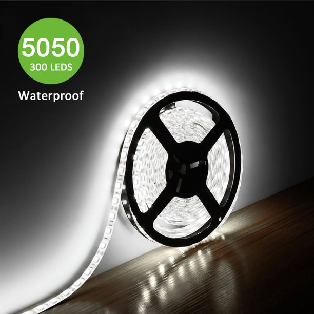 Lighting Ever 12v Flexible Led Strip Lights Led Tape Daylight White Super Bright 300 Units 5050 Leds Waterproof 16 4ft 5m Spool Led Christmas Lights Walmart Com Walmart Com