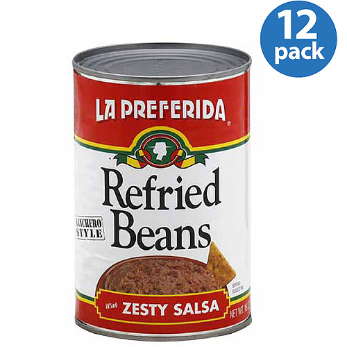 La Preferida Ranchero Style Refried Beans with Zesty Salsa, 16 oz, (Pack of 12)