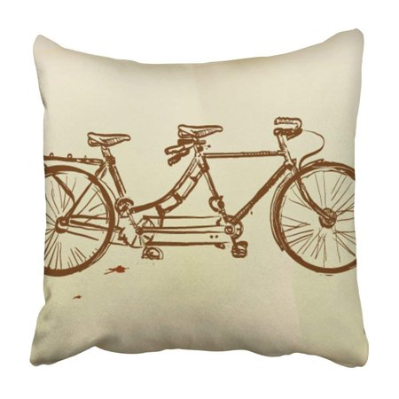 CMFUN Bike Retro Tandem Bicycle Lady Back Pen Drawing Old Double Pedal Wheel Pillowcase Cushion Cover 16x16 (Best Tandem Bikes)