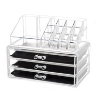 Zimtown 3 Drawers Acrylic Cosmetic Organizer Makeup Case Holder Drawers Jewelry Storage Box Clear Acrylic