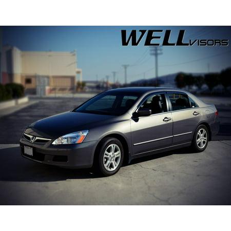 2007 Honda Accord 4dr Sedan (WellVisors Side Rain Guard Window Visors Deflectors With Black Trim For 03-07 Honda Accord 4Dr Sedan 2003 2004 2005 2006 2007 03 04 05 06)