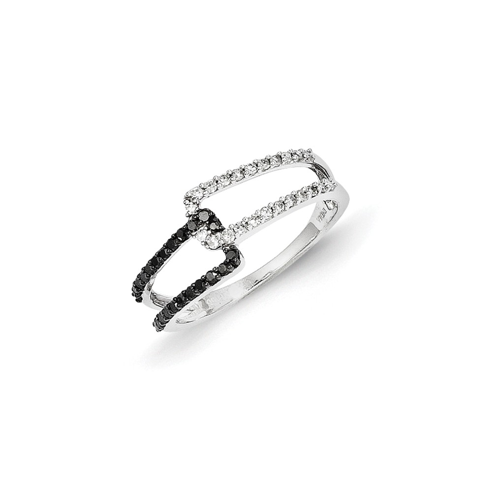 14k White Gold w/ Black and White Diamond Ring. Carat Wt- 0.3ct
