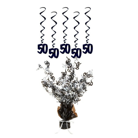Beistle 50th Birthday Party Decorations – Gleam N Burst Centerpiece and Hanging Whirls (50th Wedding Anniversary Table Centerpieces)