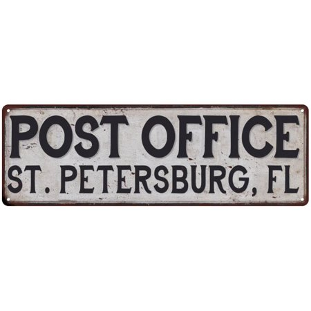 ST. PETERSBURG, FL POST OFFICE Vintage Look Metal Sign Chic Retro 6182145 ()