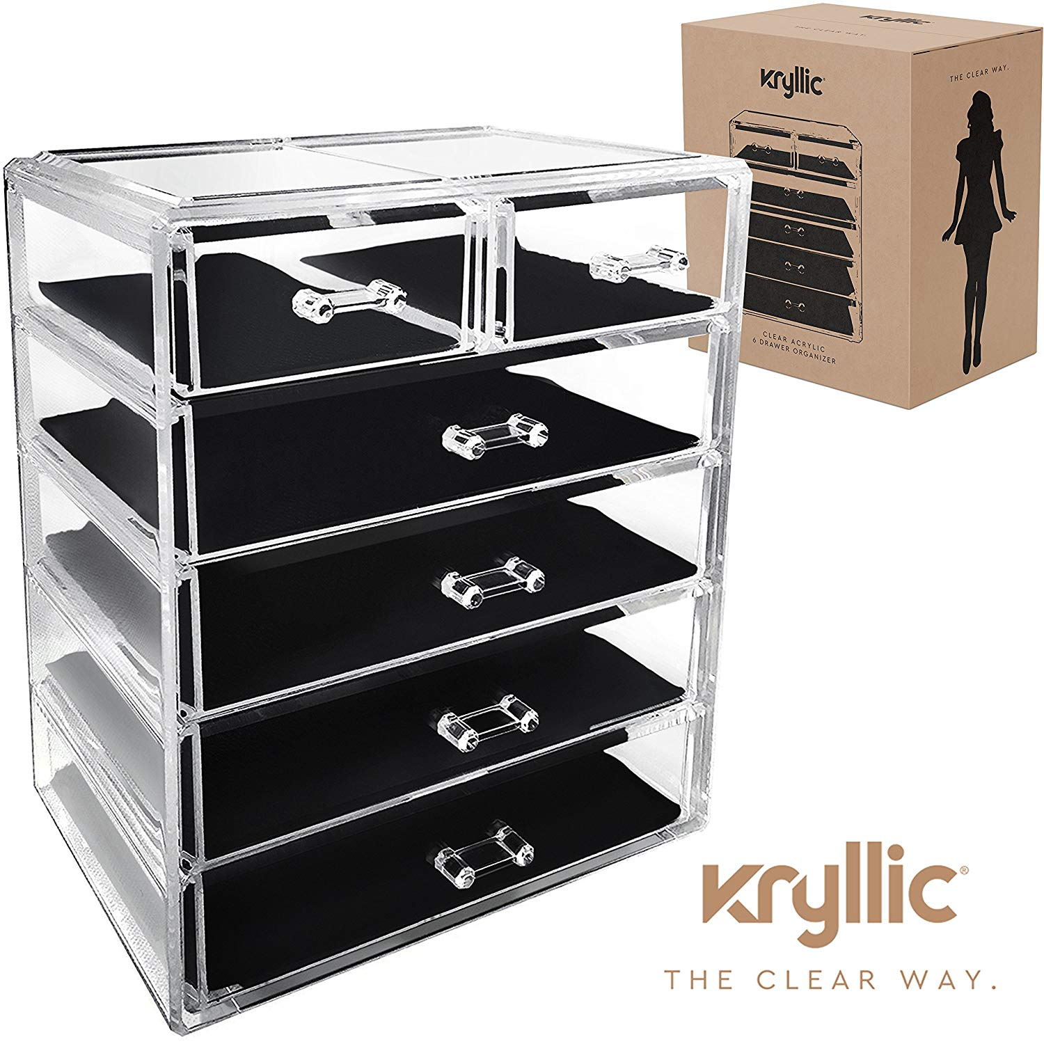 Acrylic Cosmetic Makeup Jewelry Organizer - Large 6 drawer make up holder for brush cream lipstick palette! Countertop beauty makeup organization box ideal storage for any bathroom or bedroom table!