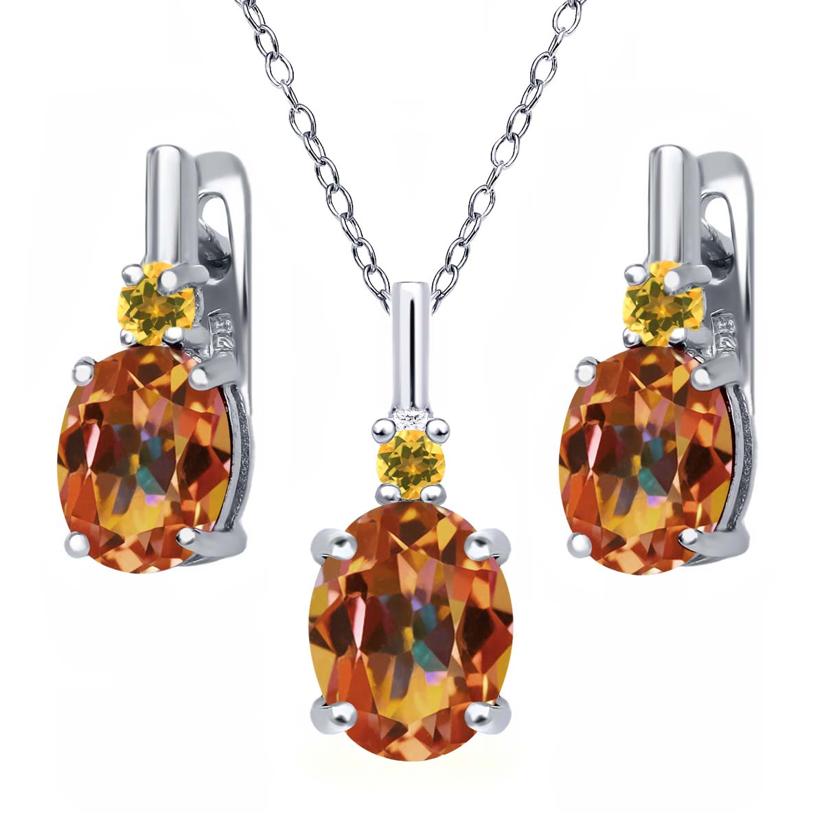 6.97 Ct Ecstasy Mystic Topaz Simulated Citrine 925 Silver Pendant Earrings Set by