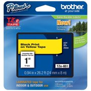 Brother Printer TZeS641 Laminated Tape, Retail Packaging, 0.75 in. - Black on Yellow